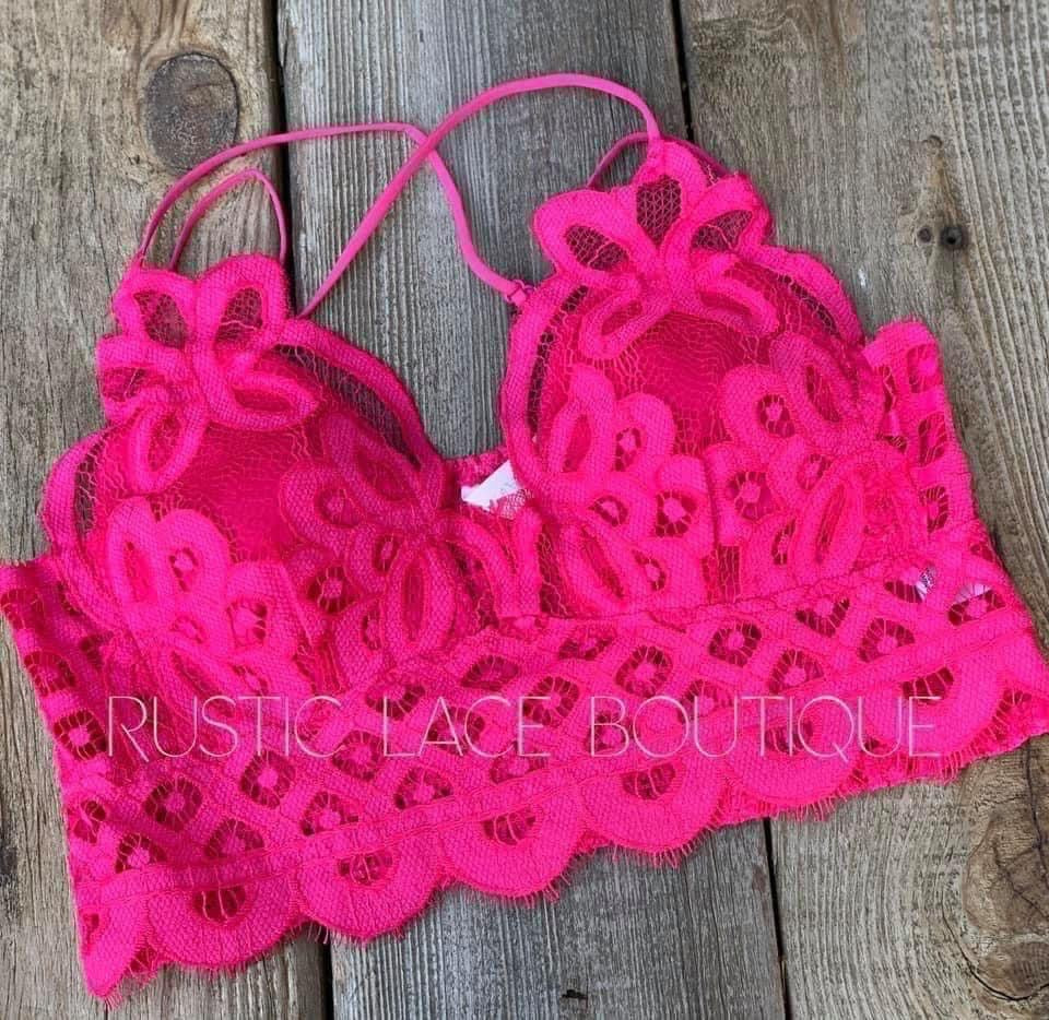 Scalloped Lace Bralette - Hot Pink