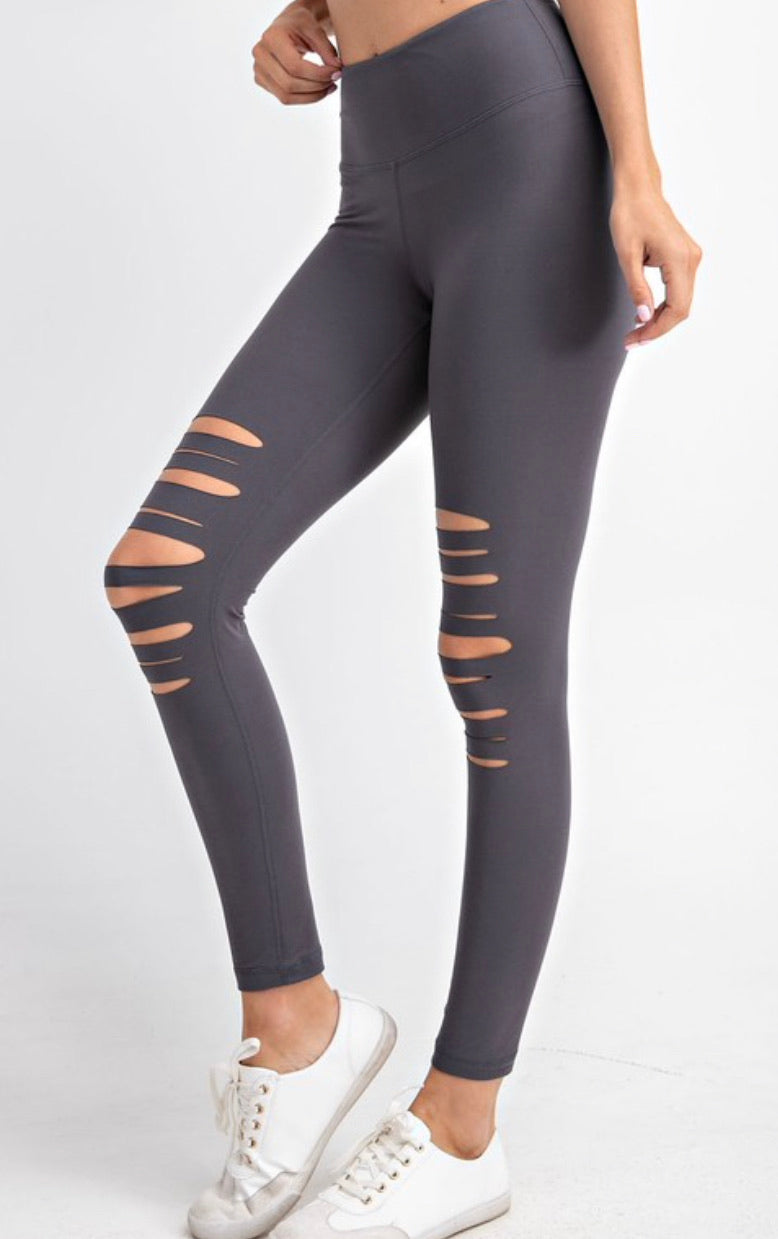 Distressed Leggings - Charcoal