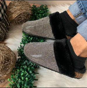 Queen Bling House Slippers - Black/Silver
