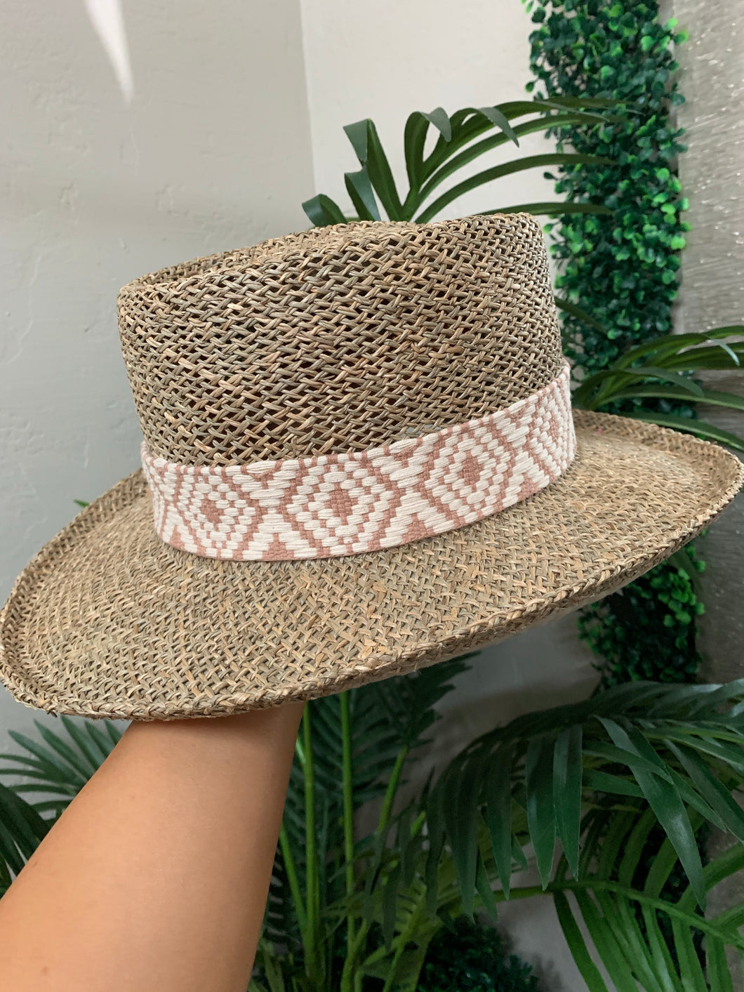 Seagrass Gambler Hat With Tribal Band