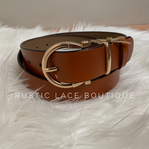 Gold Horseshoe Belt - Camel