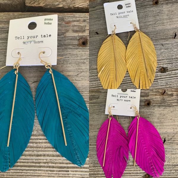 Feather Bar Earrings - 3 Color Options
