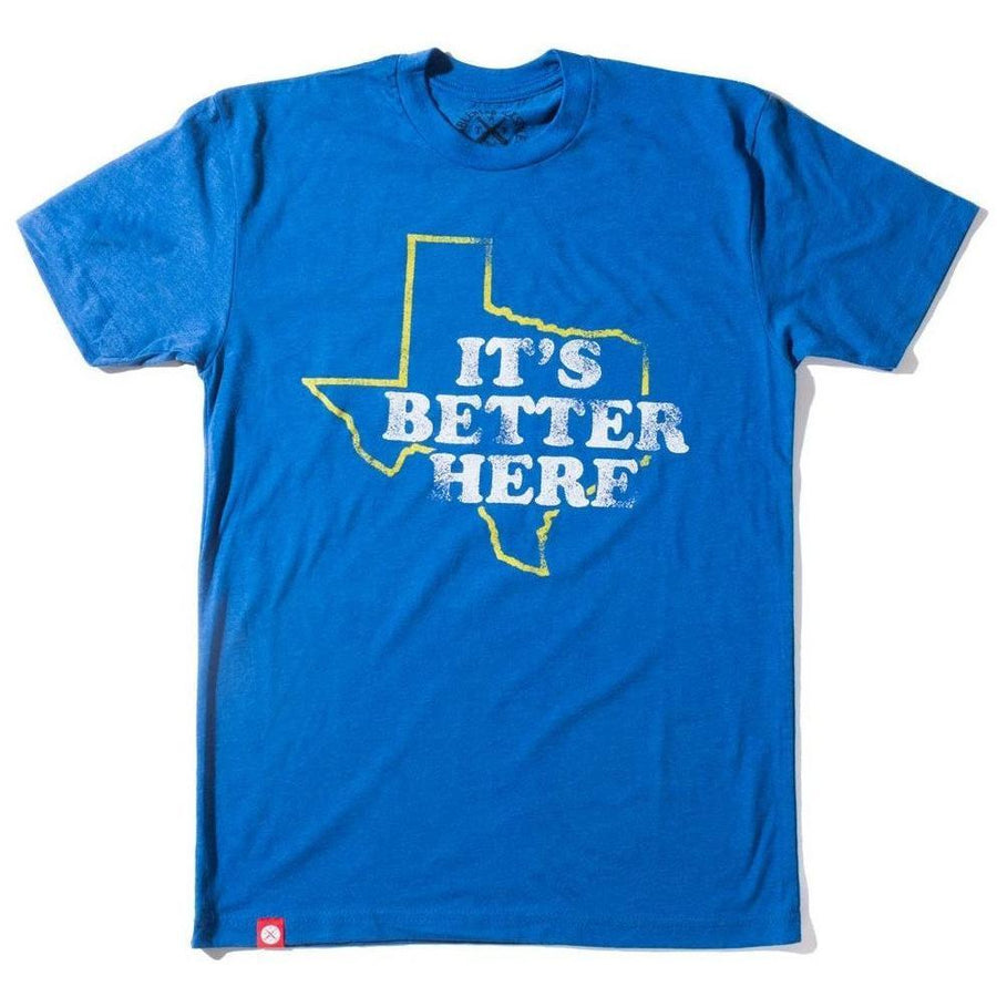 77bff917 Sky Blue It's Better Here Unisex T-shirt - Texas Humor Store - 1