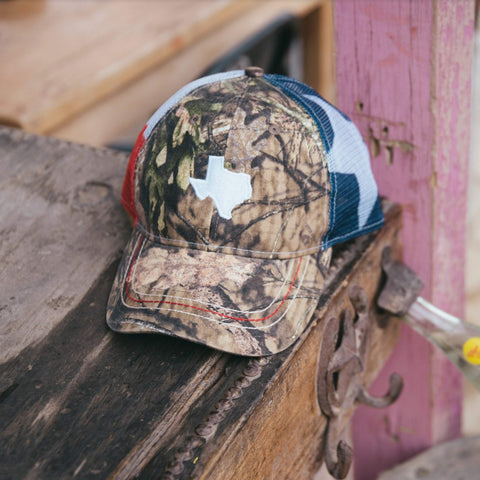 Mossy Oak Texas Flag Trucker Hat