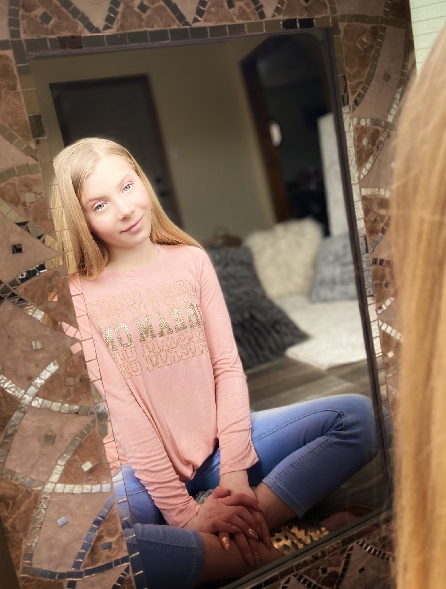 Dream Repeat Rhinestones Long Sleeve Top