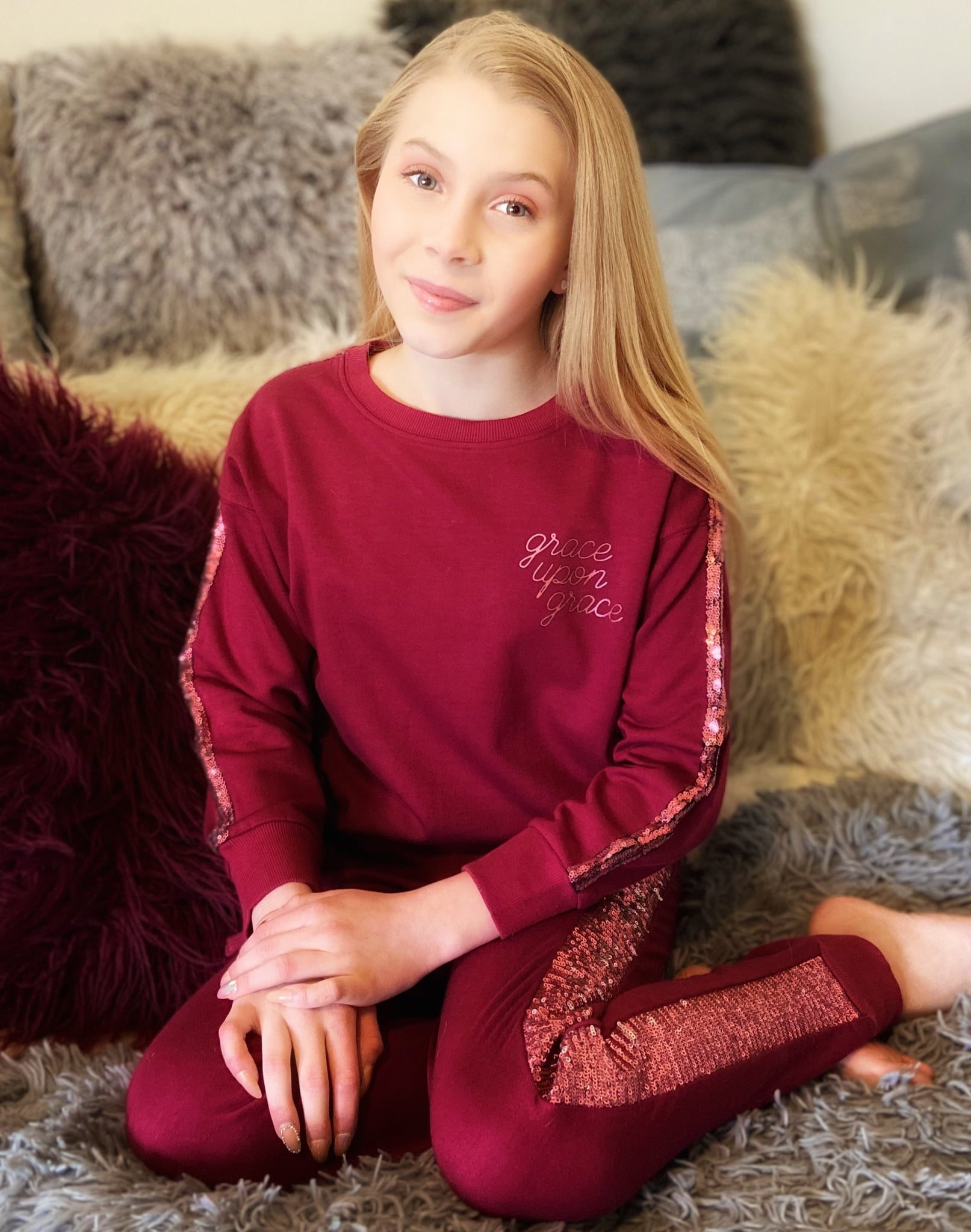 Grace Upon Grace Sequins Inset Sweatshirt