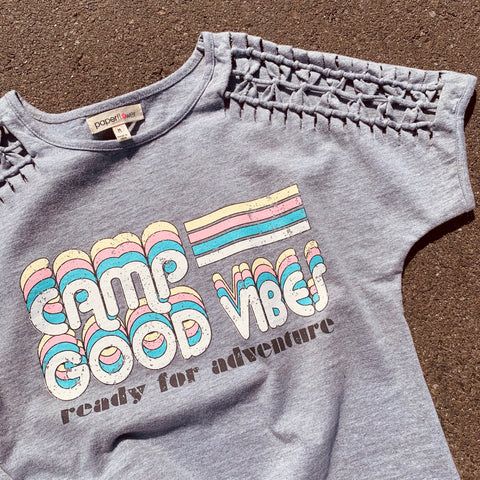 Camp Good Vibes Dolman Top W/Shoulder Lacing