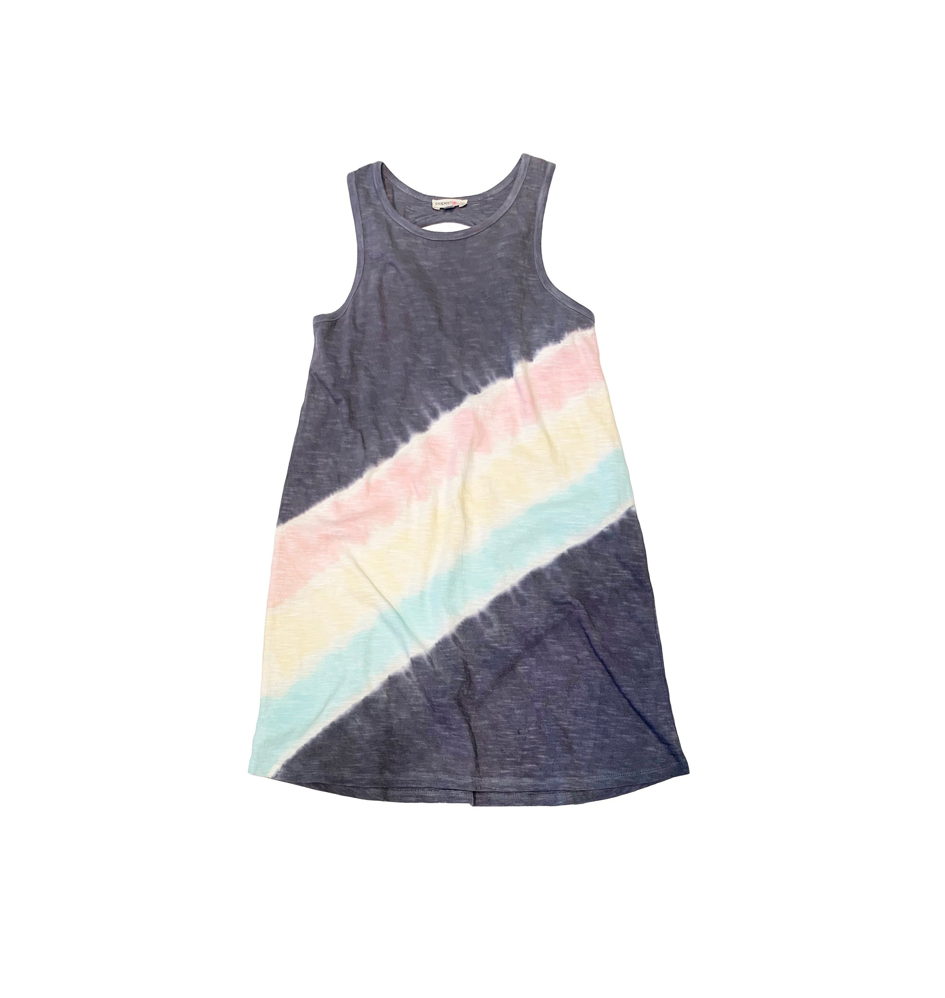 Twisted Back Tie Dye Diagonal Dress