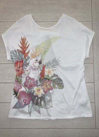 Bow Back Tropical Sequins Top