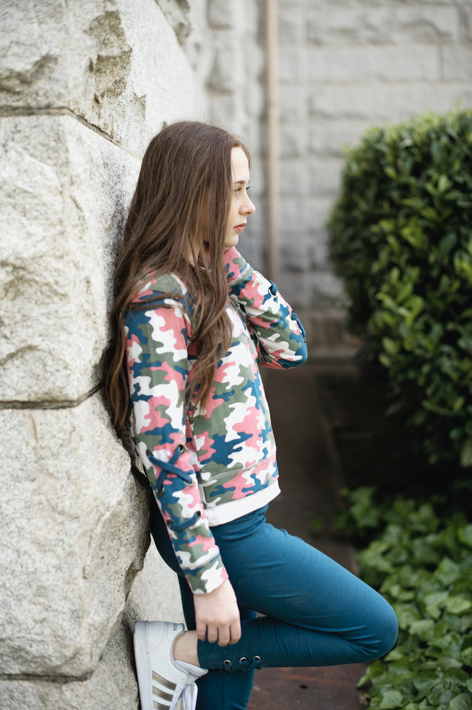Camo Sweatshirt w/ Lace-Up Detail