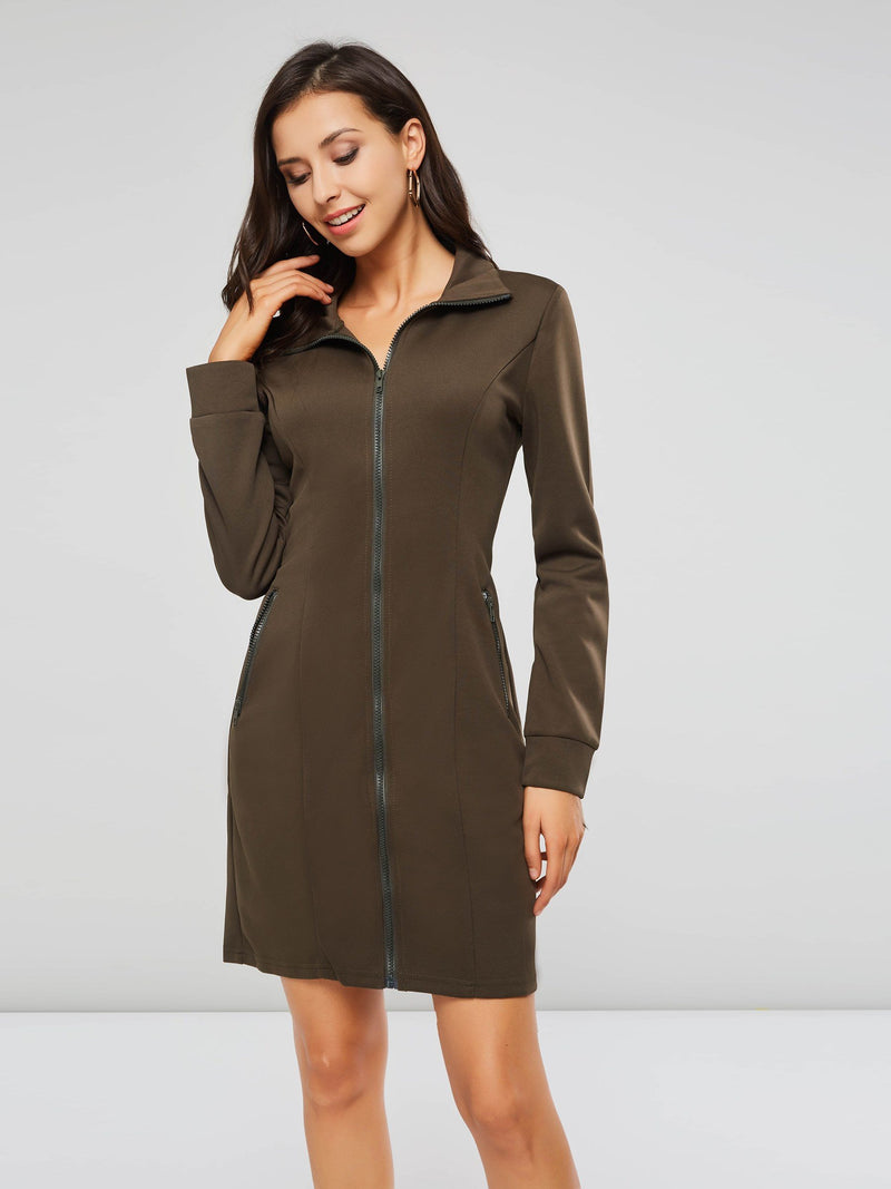 Long Sleeve Above Knee Pullover Sheath Dress