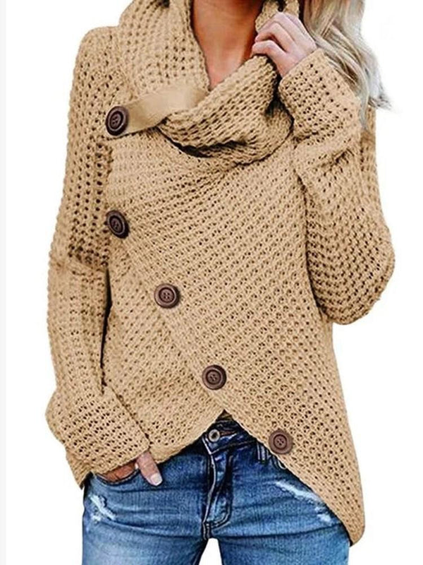 Asymmetric Long Sleeve Mid-Length Sweater
