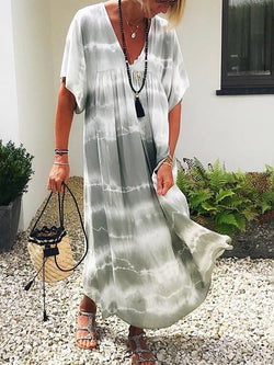 Short Sleeve Print Ankle-Length Casual Color Block Dress