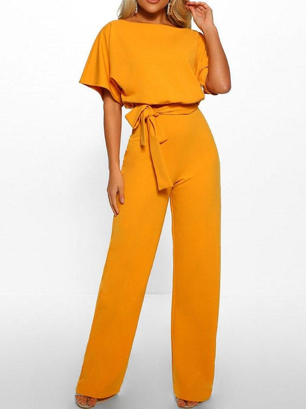 Full Length Belt Western Loose Straight Jumpsuit