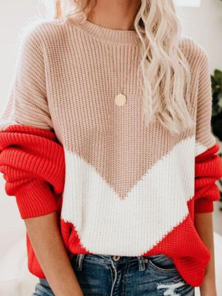 Lantern Sleeve Patchwork Long Sleeve Stand Collar Sweater