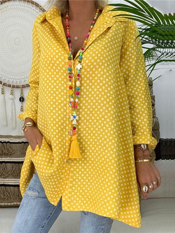Print Lapel Polka Dots Long Sleeve Mid-Length Blouse