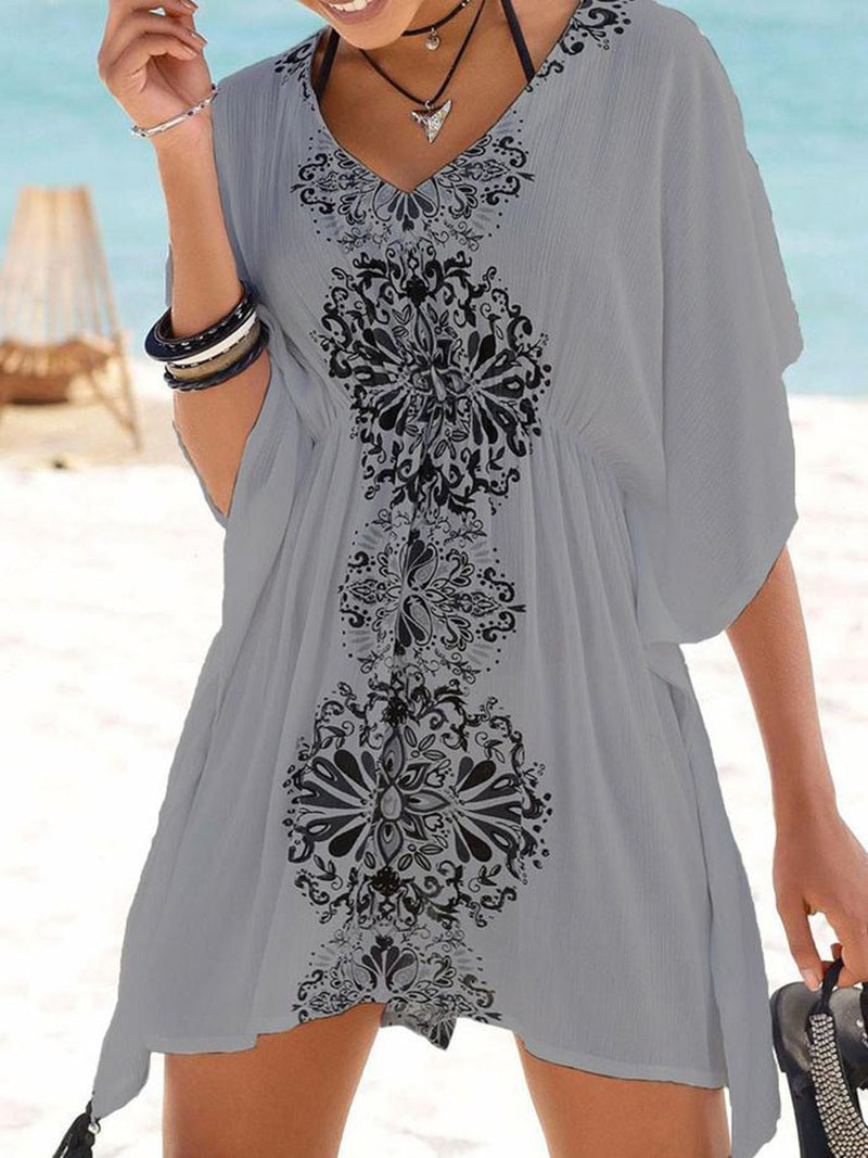 Print Color Block V-Neck Mid-Length Three-Quarter Sleeve Blouse