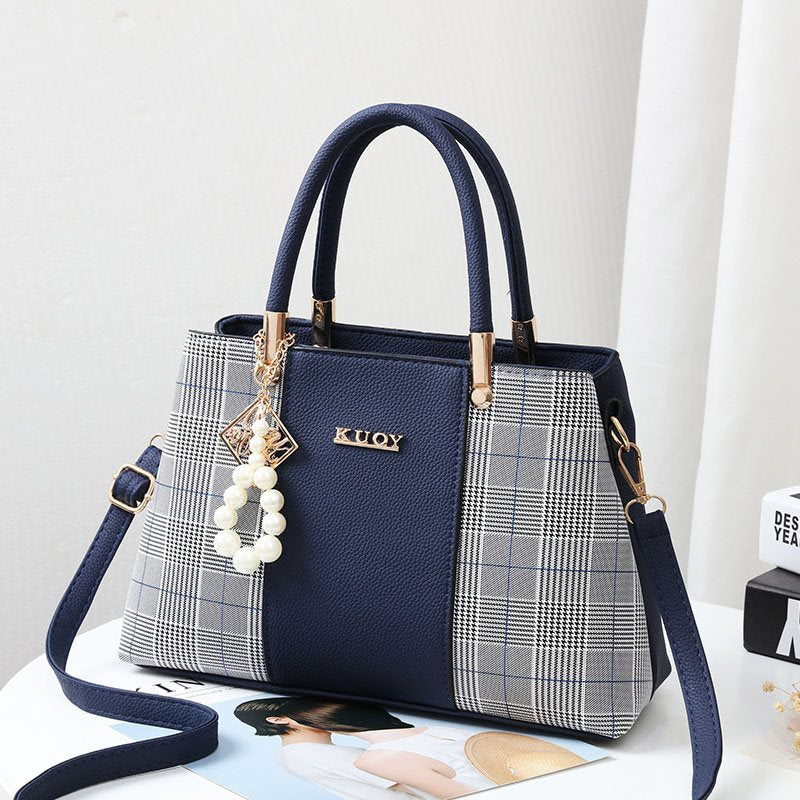 Plaid PU Patchwork Tote Bags