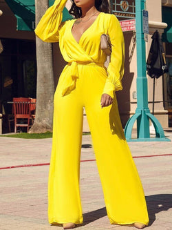 Plain Western Full Length Slim Wide Legs Jumpsuit