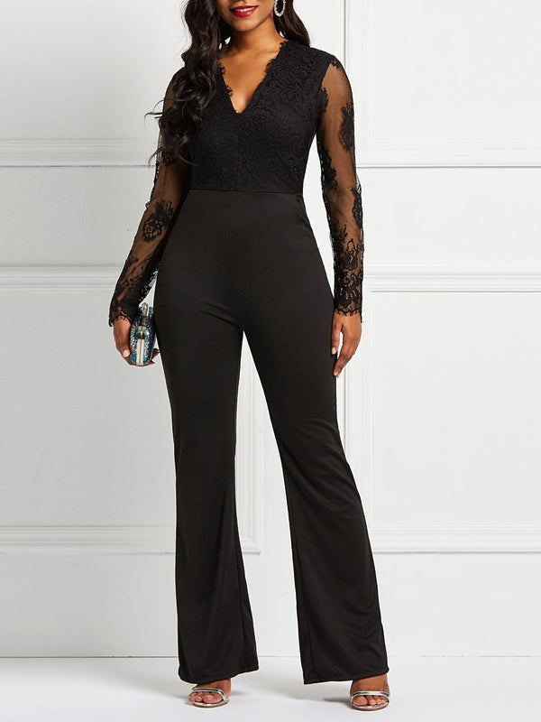 Sexy See-Through Plain High Waist Skinny Jumpsuit