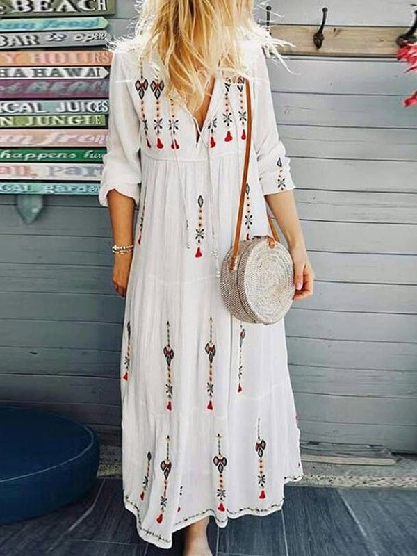 V-Neck Ankle-Length Print Beach Look Pullover Dress