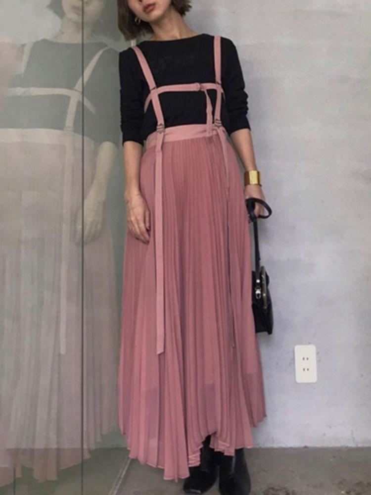 Sleeveless Pleated Ankle-Length High Waist Pleated Dress