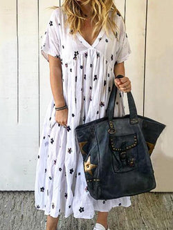 Mid-Calf V-Neck Short Sleeve Pullover Floral Dress