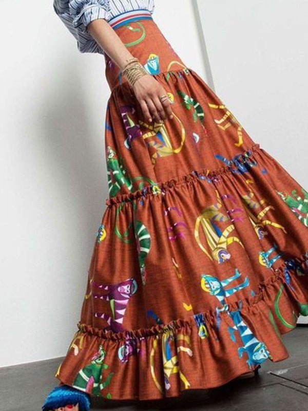 Color Block Floor-Length Print Western Skirt