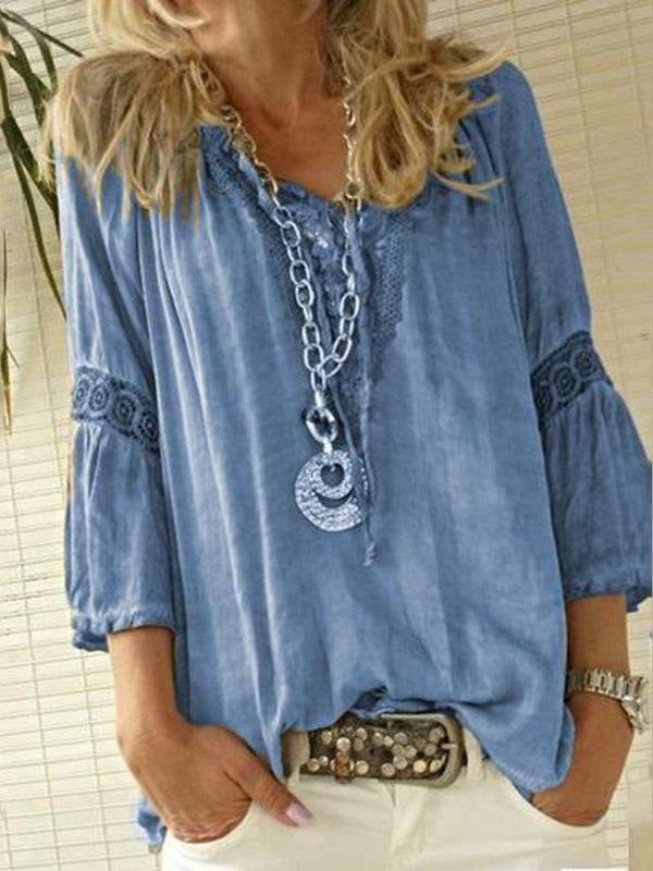 Plain V-Neck Patchwork Three-Quarter Sleeve Mid-Length Blouse