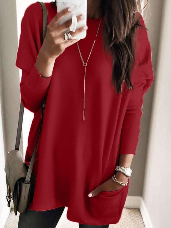 Regular Pocket Regular Mid-Length Long Sleeve Sweater