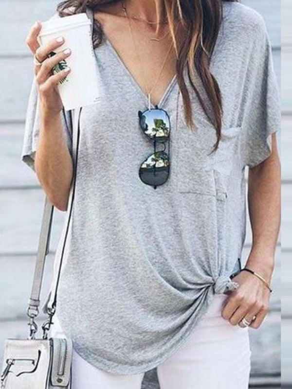 Short Sleeve Standard Plain Casual Loose T-Shirt
