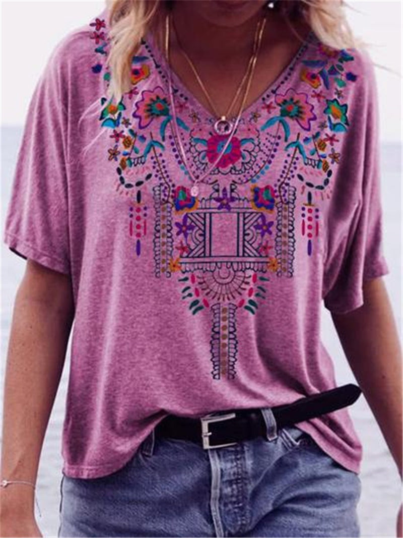 V-Neck Floral Short Sleeve Casual Loose T-Shirt