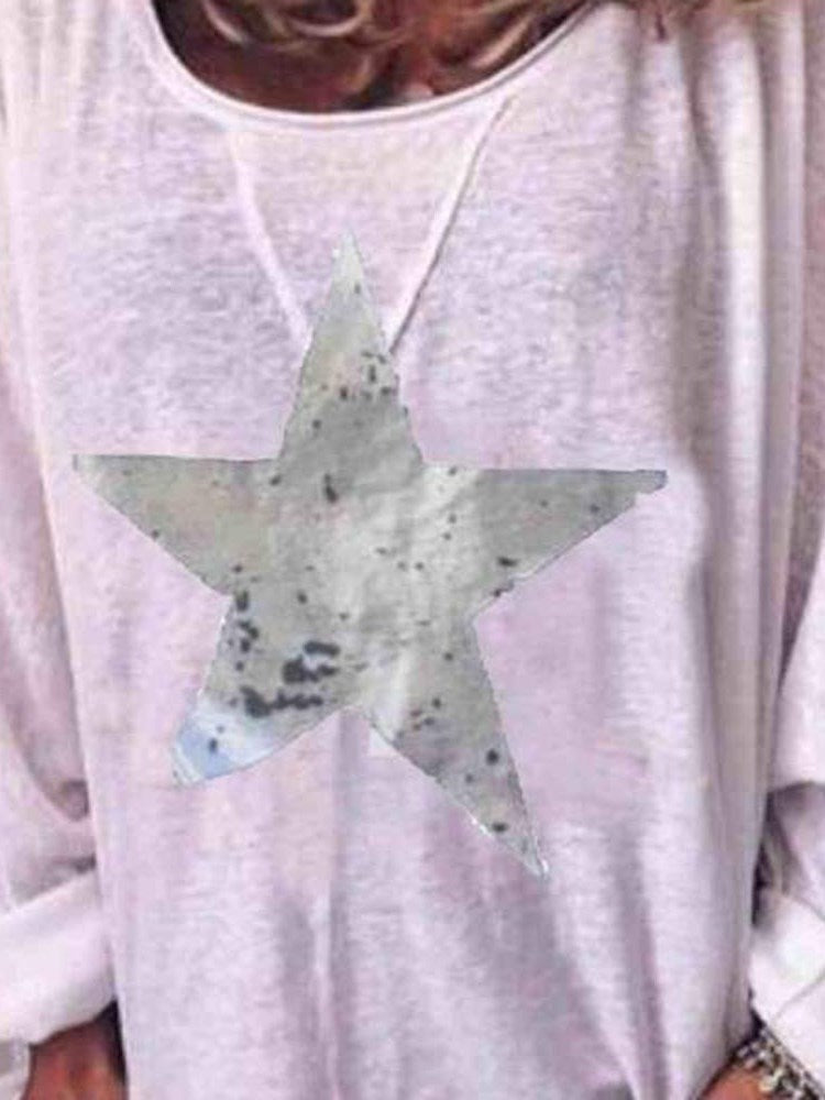 Mid-Length Long Sleeve Star Casual Loose T-Shirt