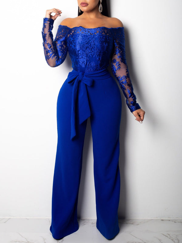 Casual Full Length Patchwork Wide Legs Slim Jumpsuit