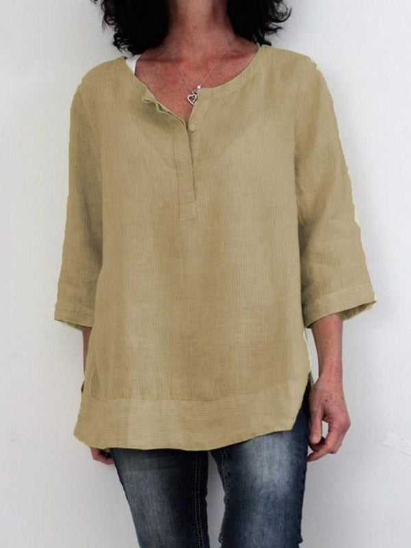 Plain Three-Quarter Sleeve Mid-Length Casual Loose T-Shirt