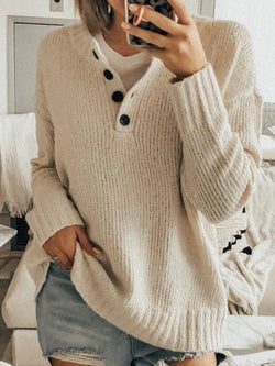 Button Mid-Length Long Sleeve Sweater