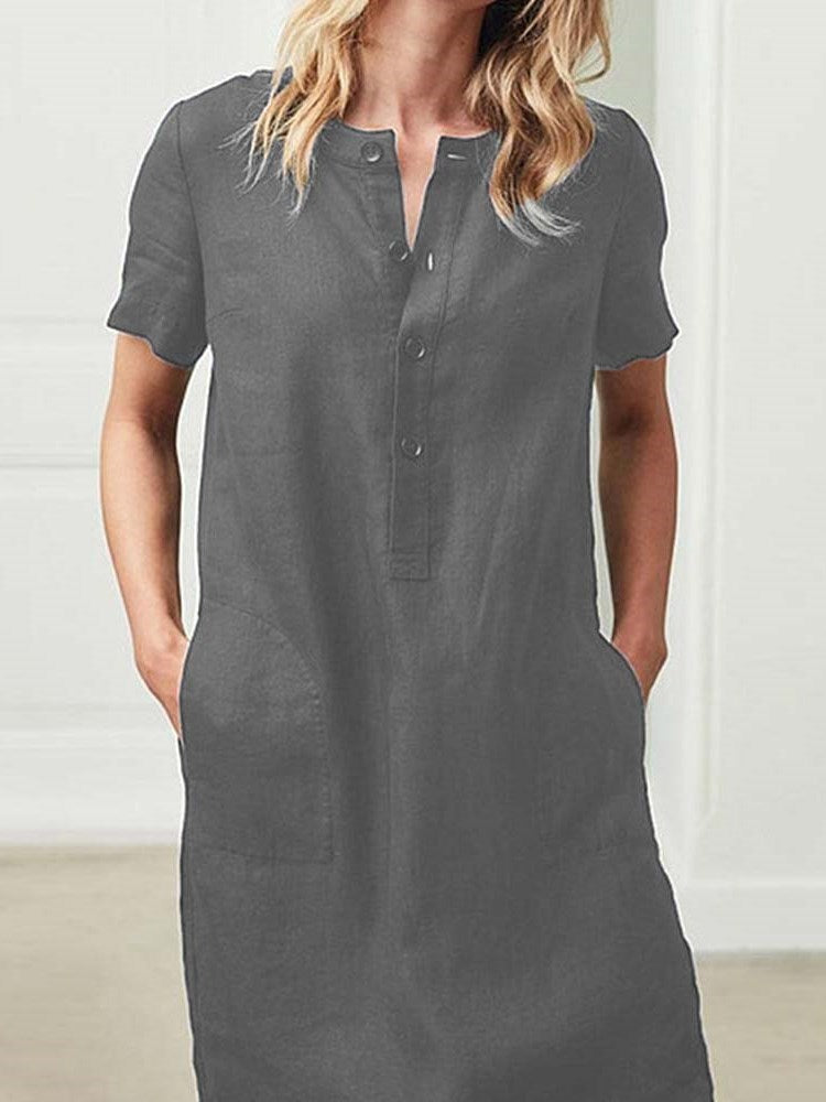 Button Short Sleeve Above Knee Casual A-Line Dress
