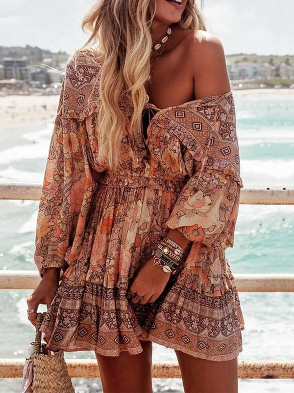 Above Knee Print Long Sleeve Summer A-Line Dress
