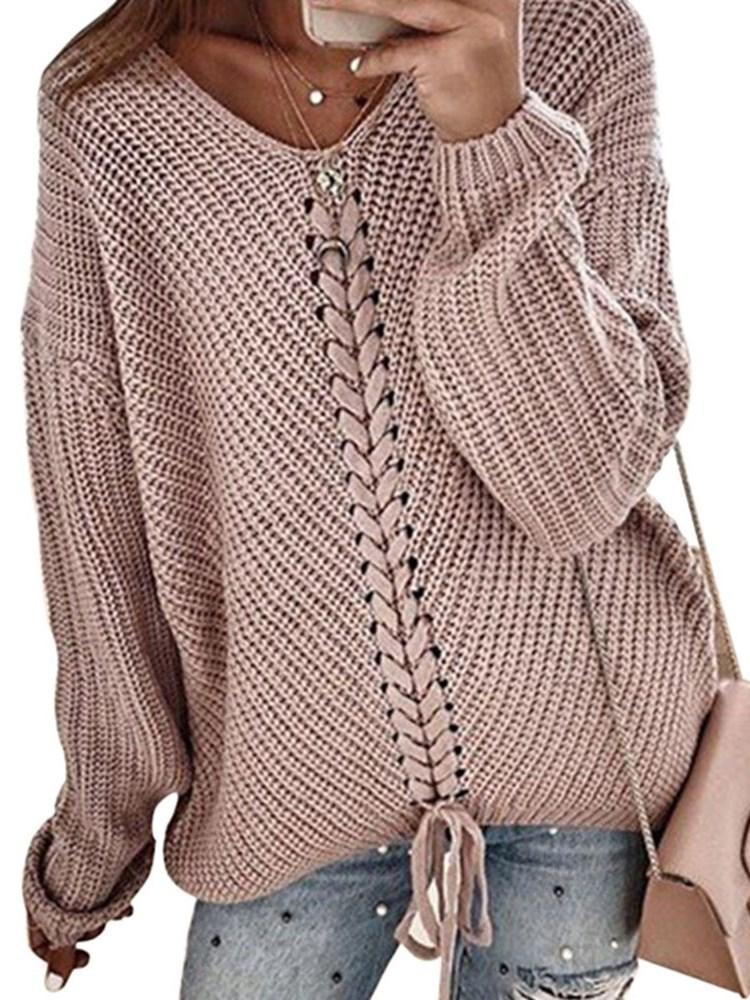 Regular Lace-Up Loose V-Neck Sweater