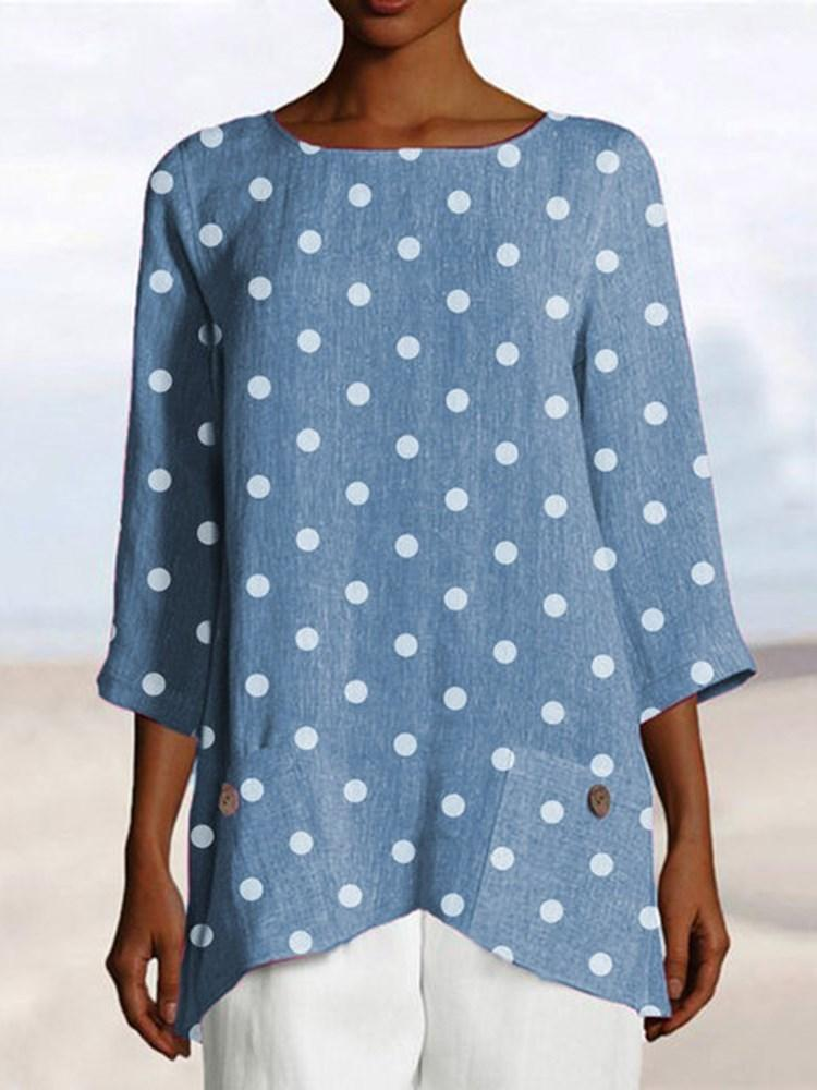 Polka Dots Mid-Length Three-Quarter Sleeve Loose T-Shirt
