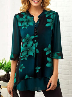 Print Floral Mid-Length Three-Quarter Sleeve Blouse