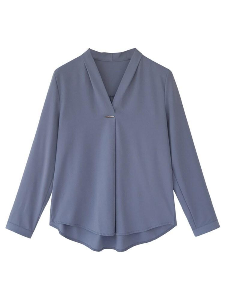 V-Neck Regular Plain Standard Long Sleeve Blouse