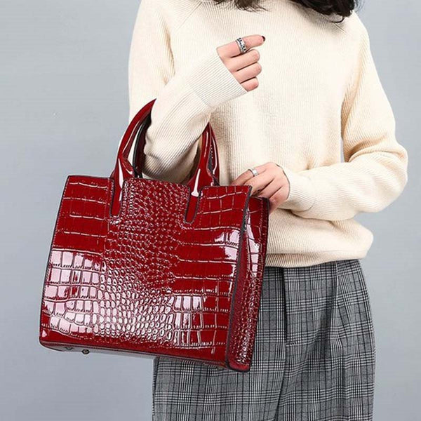 Alligator Thread PU Square Tote Bags