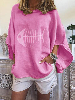 Print Round Neck Flare Sleeve Long Sleeve Mid-Length Blouse