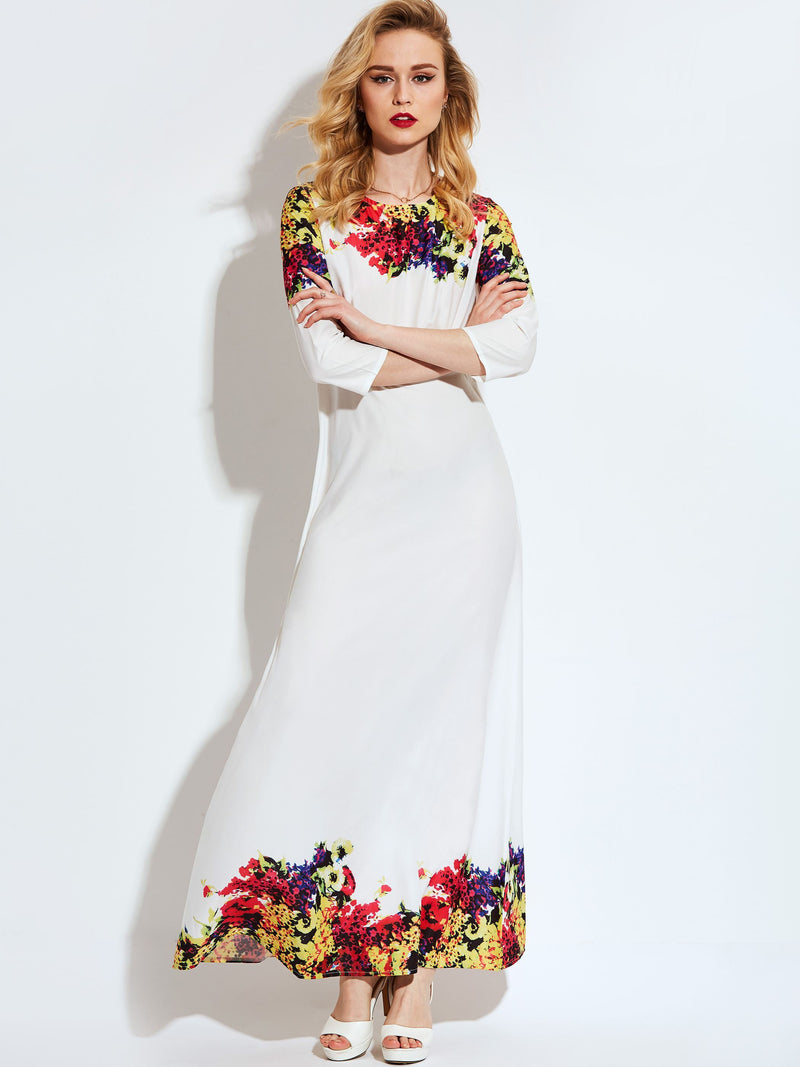 Floor-Length Three-Quarter Sleeve Print Fall Floral Dress