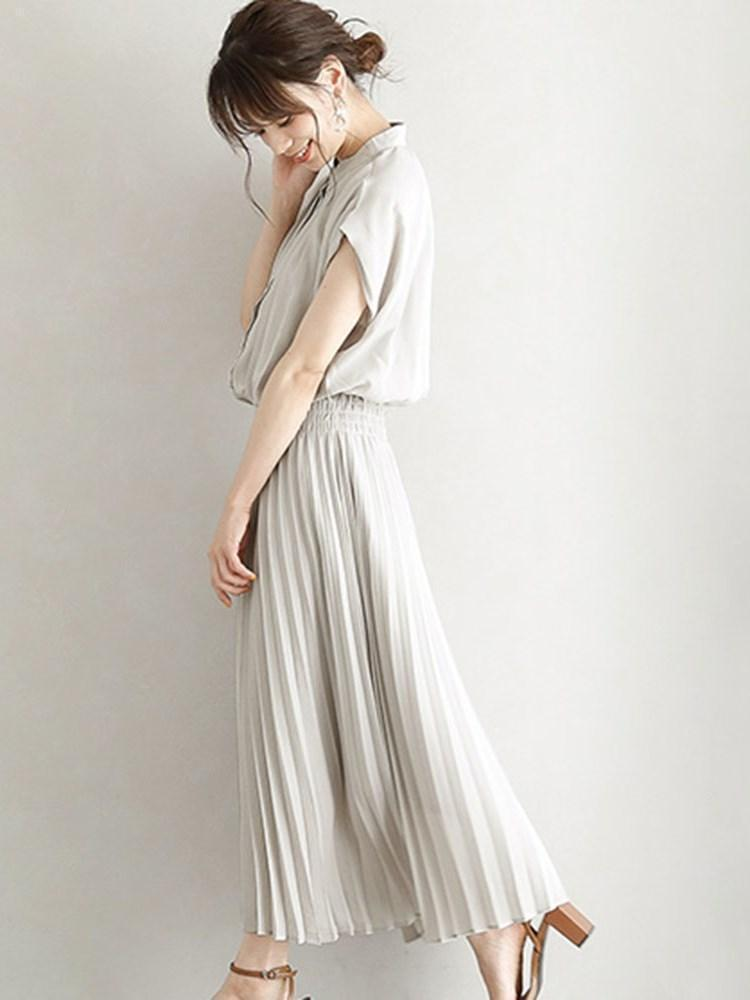 Short Sleeve Stand Collar Pleated Summer Japanese  Dress