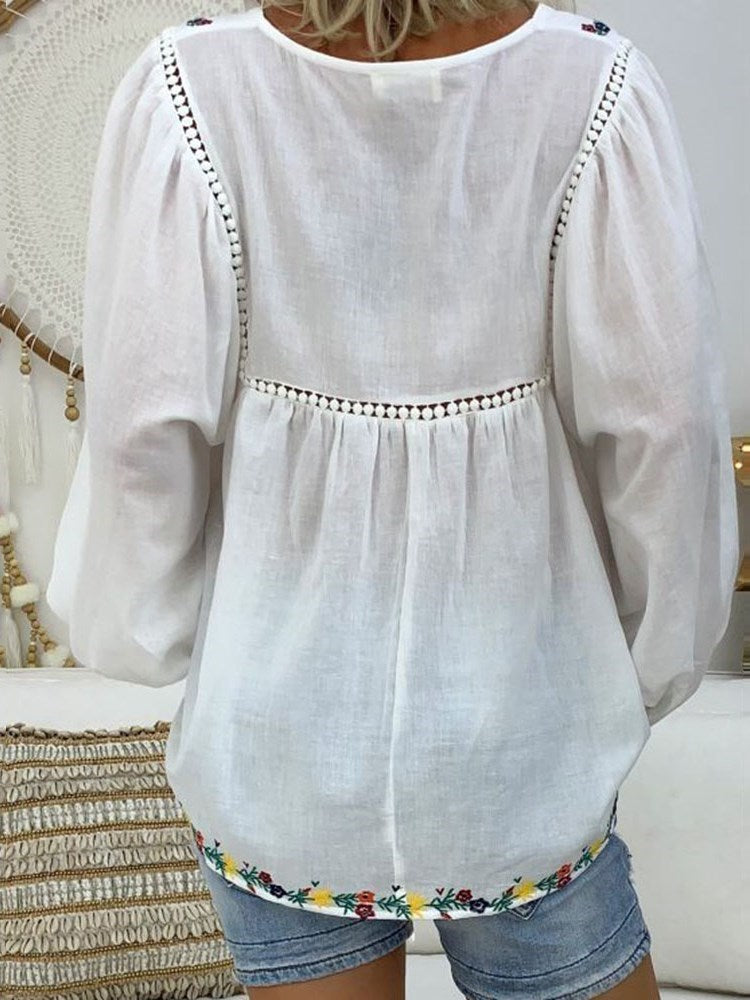 V-Neck Floral Embroidery Mid-Length Long Sleeve Blouse