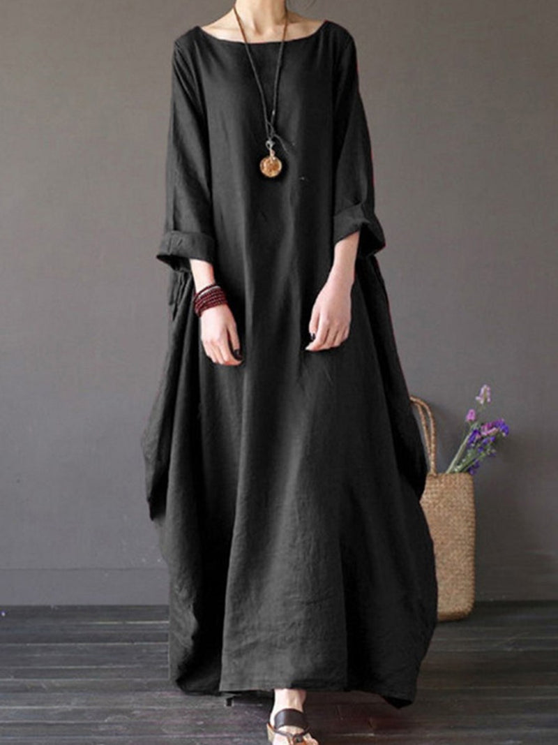 Patchwork Round Neck Long Sleeve Plain Pullover Dress