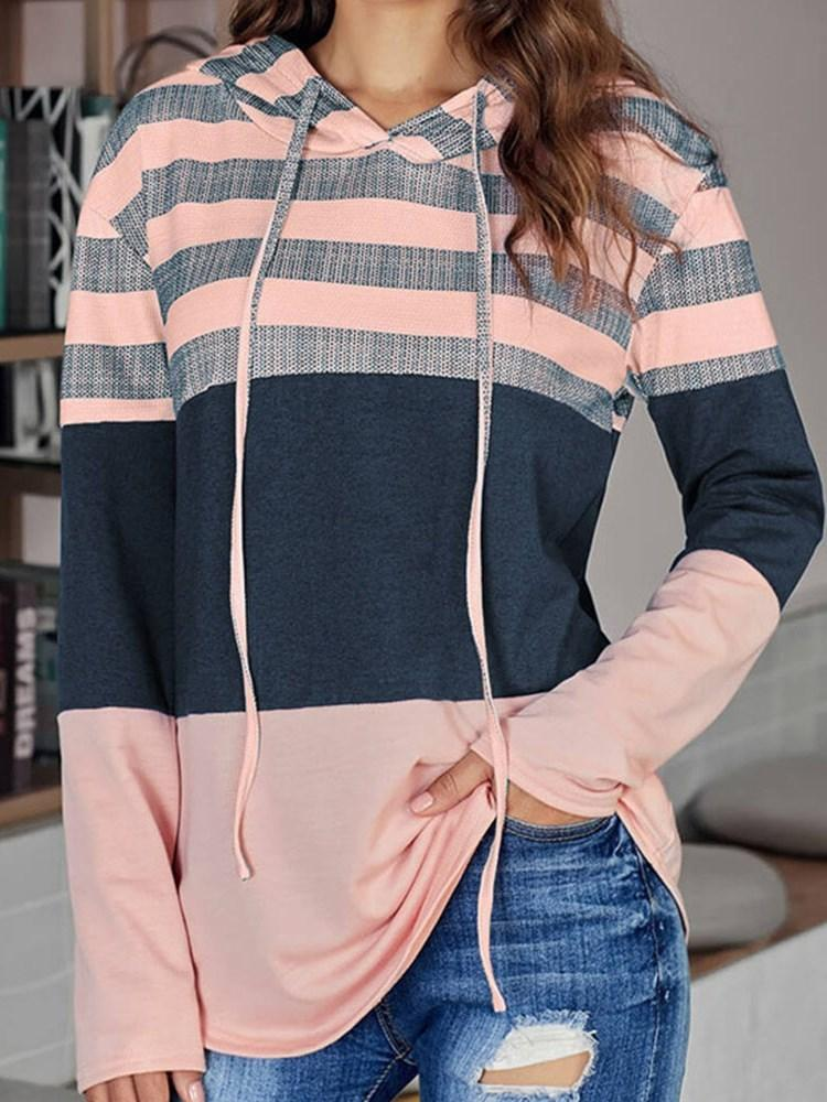 Patchwork Color Block Long Sleeve Mid-Length Hoodie