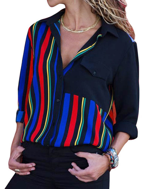 Button Color Block Standard Long Sleeve Blouse